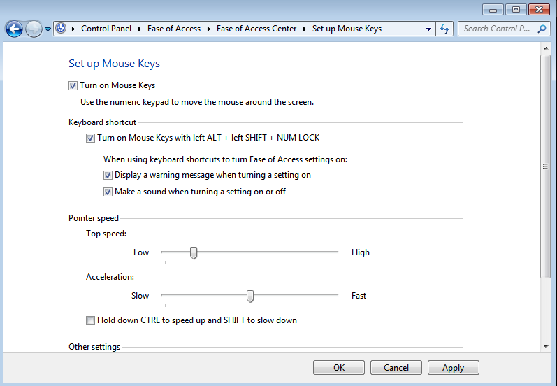 How To Transfer The Mouse Functions To The Keyboard In Windows