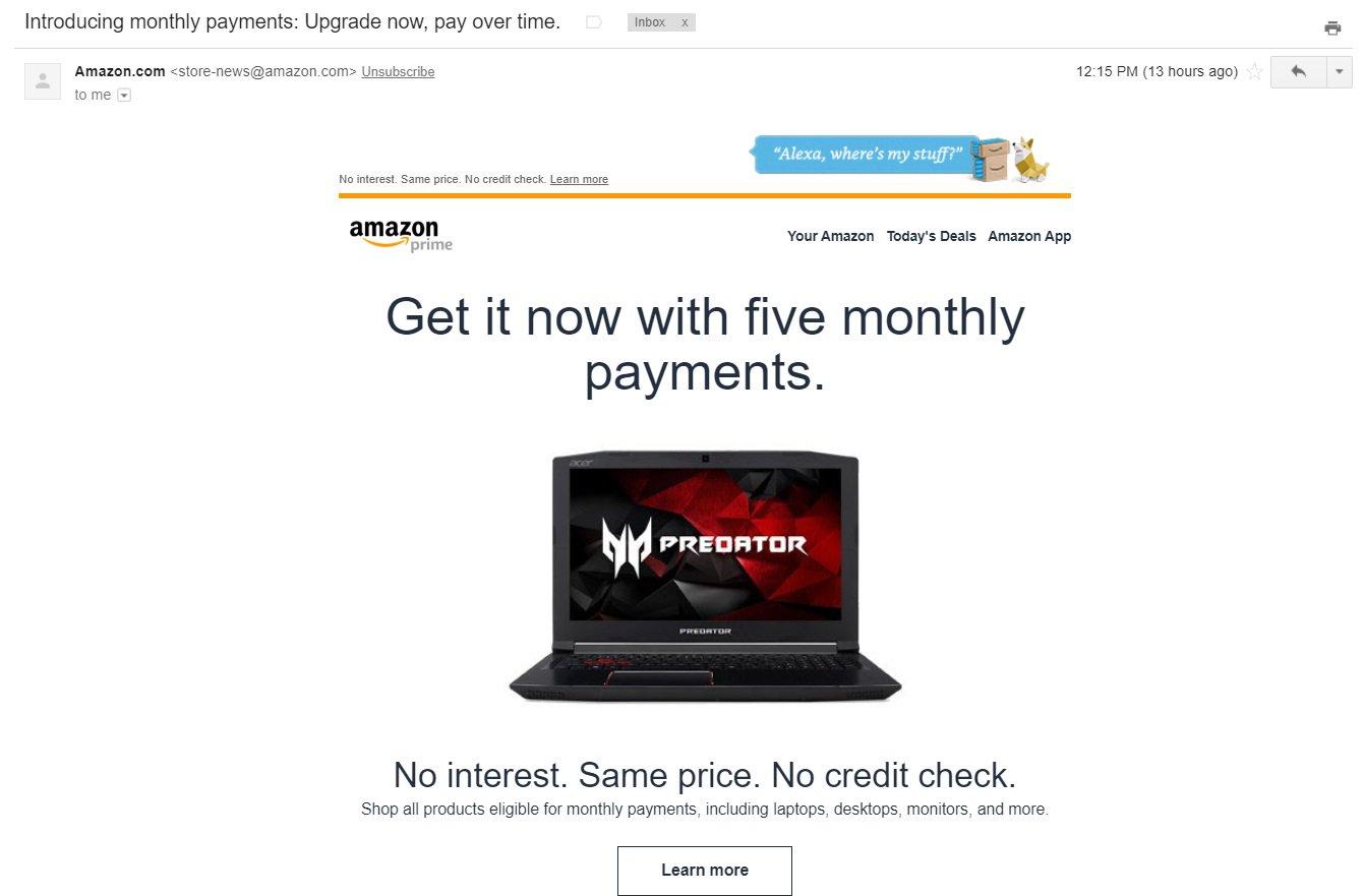 amazon payment plan