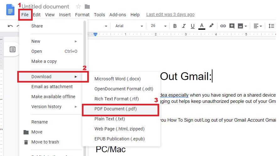 how to convert google docs to pdf