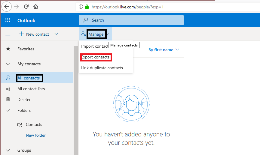 how to export contacts from ouutlook
