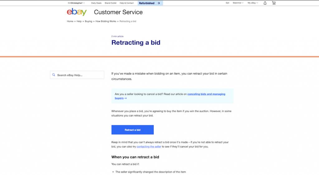 how to retract an ebay bid